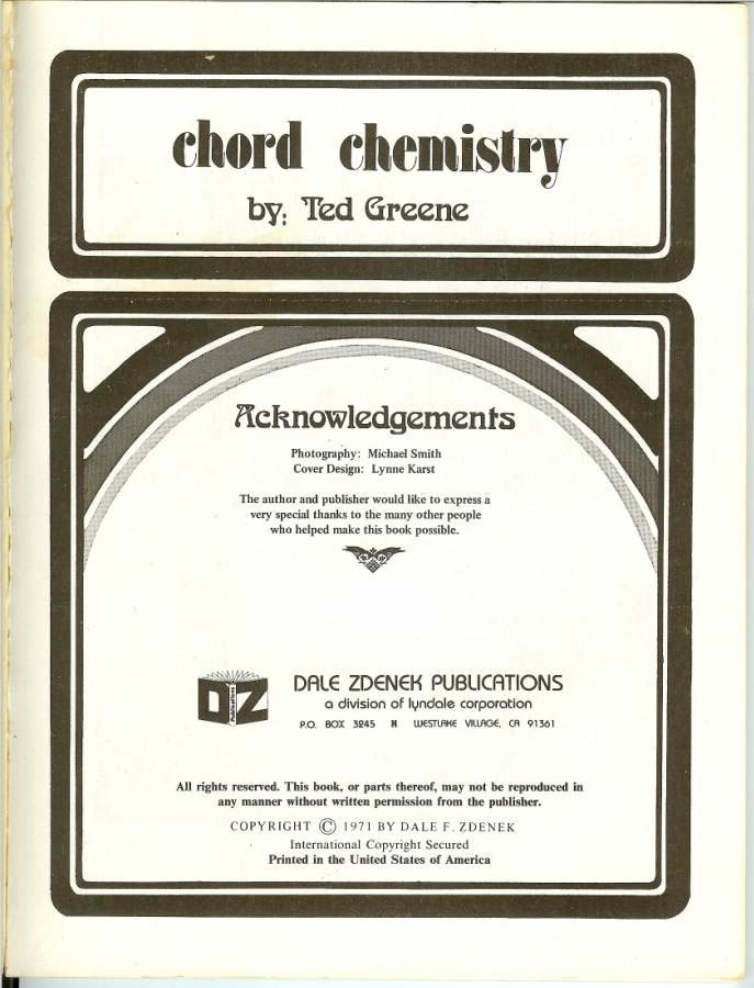 Chord Chemistry Sixth Edition By Ted Greene